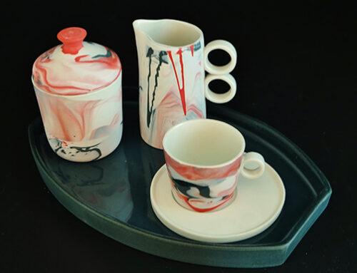 Set koffiekop, suiker en melkkannetje